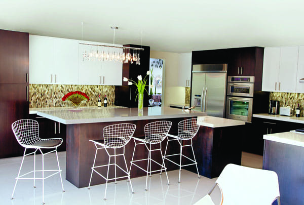 The sleek kitchen gets a touch of Liberace glam in the Shooting Stars Chandelier by Zuo Modern.