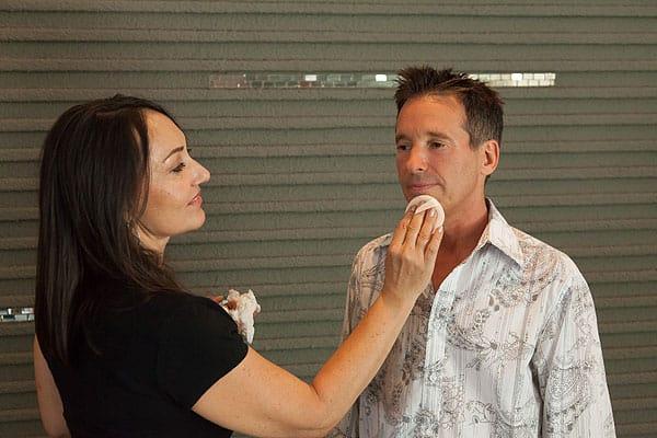 Designer Brian Foster prepares to go on camera for HGTV's <em>Million Dollar Rooms</em>.
