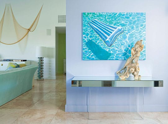 Commission a site-specific work of art. Artist Tiko Kerr's pool painting graces the entry hall and greets visitors with a burst of color and a hint of what's to come  ($15,000, www.tikokerr.com).