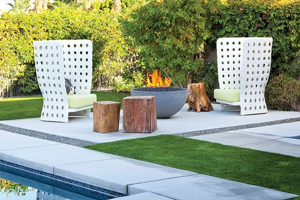 Create a private retreat in outdoor spaces (furnishings $100,000, B+B Italia, www.bebitalia.it). Recline under cantilevered umbrellas that provide UV protection and flattering, defused lighting. Cook in the outdoor kitchen by Lynx ($15,000, www.lynxgrills.com). Snuggle near the fire pit by Solus Décor ($8,000, www.solusdecor.com). Relax in the custom pool or multijet spa ($85,000, Azure Pools and Spas, Palm Desert).
