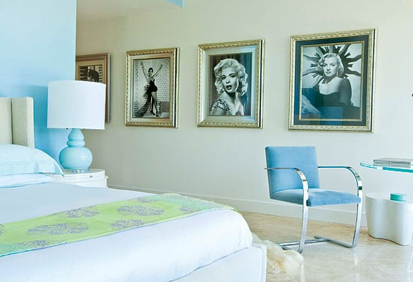 A gallery of vintage Hollywood photography leads into the principal bedroom, recalling a period of glamour and showcasing women in film who influenced our collective idea of style  ($500-$1,000, Just Fabulous and other Uptown Palm Springs boutiques or www.hollywoodhistoricphotos.com).