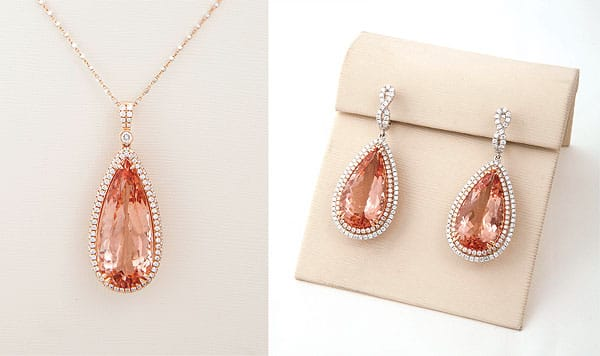 """Always pick something that goes with your skin tone and coloring,"" Levy says. ""This color is so complementary that it looks good on almost everybody and could go with anything in your closet."" The stone is morganite, a type of pink emerald (named after J.P. Morgan, who amassed an amazing gemstone collection), and is paired with 18K rose gold and diamonds. ""The color is really fresh, and it's a gorgeous option for spring and summer in the desert."" Pendant, $9,300; earrings, $12,500"
