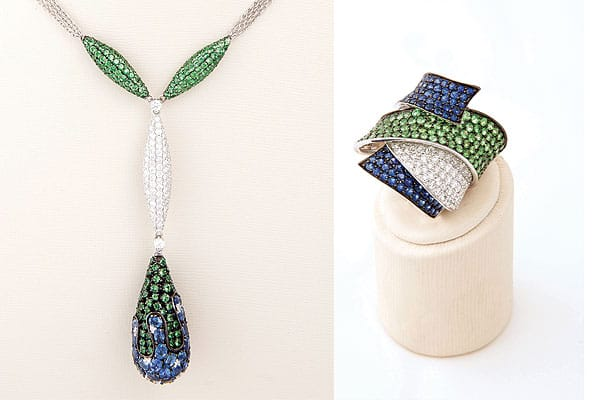 """This set would be great to wear with white or black or any bright color,"" Levy says. ""The top of the necklace looks like petals, which is perfect for spring, and the contrast of the colors against the white diamonds is really striking."" Both pieces are composed of sapphires, diamonds, and tsavorite — a rare, grass-green shade of garnet. ""Most people think garnet only comes in red, but it's actually the broadest range of stones. There are two types of green and two types of orange."" The way the blue wraps around the ring keeps your eye moving. ""Rings can be very one-dimensional. But with a wrap ring, it's complementary to short or long fingers and fits any body type."" Necklace, $25,000; ring, $12,850"