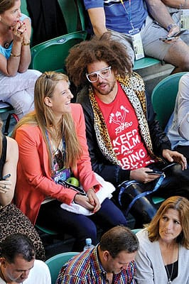 Victoria Azarenka and LMFAO frontman Redfoo watch the men's final at the Australian Open at Melbourne Park in January. Azarenka won the women's title at the tournament.