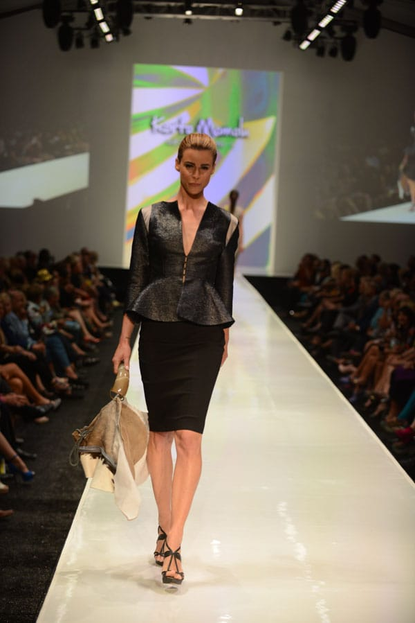 Designer Korto Momolu shows off current designs during the Fashion Week El Paseo Drama and Designes of Project Runway