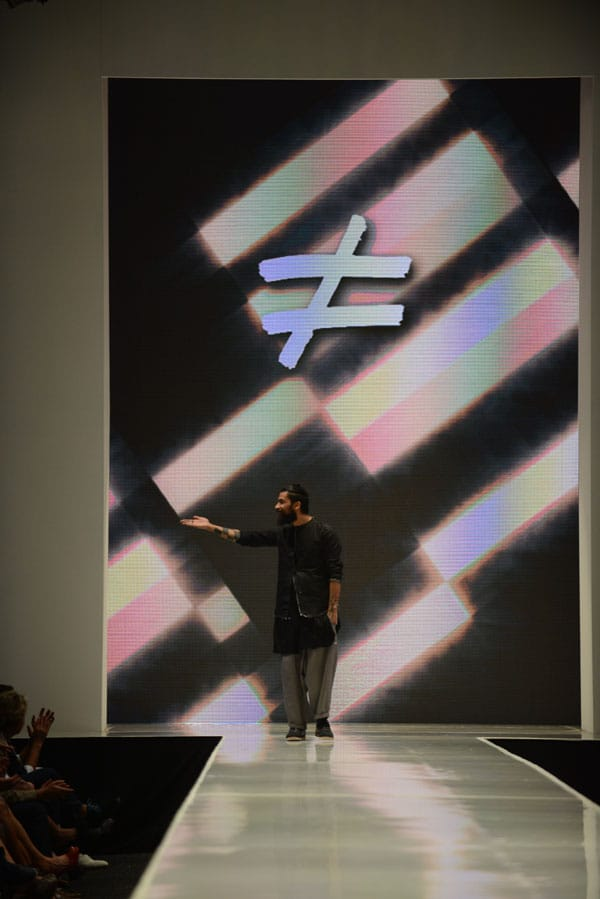 Designer Fabio Costa shows off current designs during the Fashion Week El Paseo Drama and Designes of Project Runway
