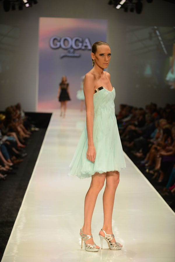 Designer Gordana Gehlhausen shows off current designs during the Fashion Week El Paseo Drama and Designes of Project Runway