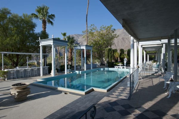 "Liberace's swimming pool ""It was hard to find a pool in Palm Springs that hasn't been redone to be very modern,"" Cummings says. ""So I lucked out there."""