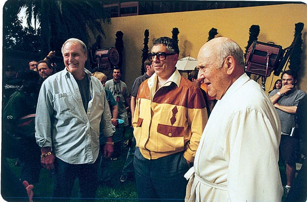 Ocean's Eleven cast members Elliot Gould and Carl Reiner at the A. Quincy Jones designed house in the Old Las Palmas neighborhood of Palm Springs.