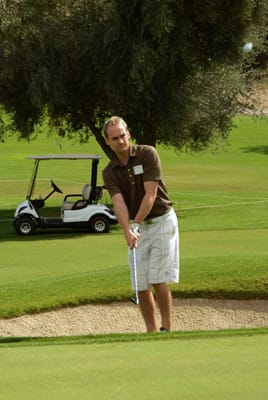 KESQ 3 sportscaster Spencer Linton soon discovered the depths of the Dick Wilson signature bunkers.