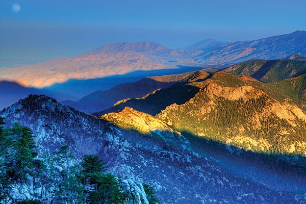 The sun's last rays light up Pacific Crest Trail.