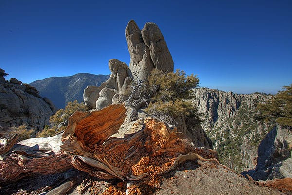 A rock formation off of South Ridge Trail captures Brewster's attention on his ascent to Tahquitz Peak.