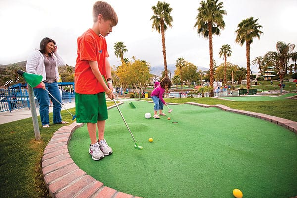 Mini golf is a great family activity at Boomers!