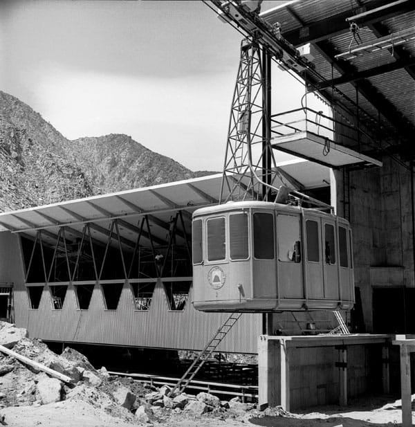 The original tramcar during construction of the Valley Station, 1963.