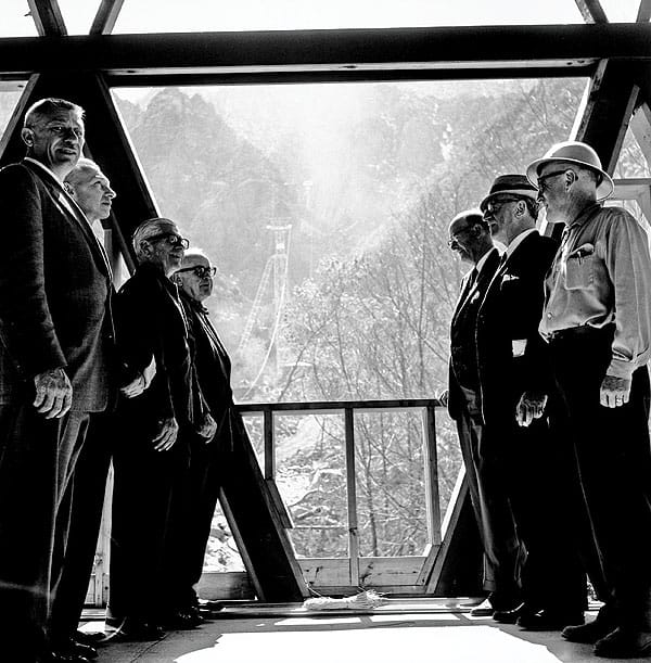 The San Jacinto Winter Park Authority at the Valley Station on March 19, 1963. On the left:  Stanley O'Neill, Donald McDermott, O. Earl Coffman, and Francis Crocker. On the right: V.W. Grubbs, Mitchell Hamilburg and unidentified construction worker.