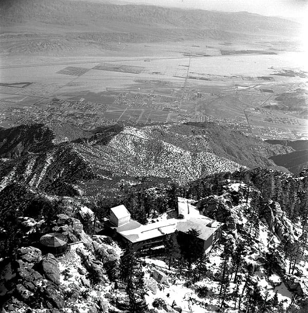 The alpine Mountain Station viewed from the sky.