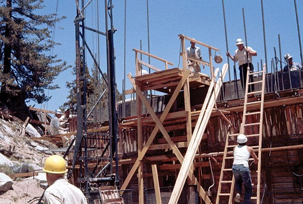 Construction crews work on the structure of the Mountain Station, circa 1962.