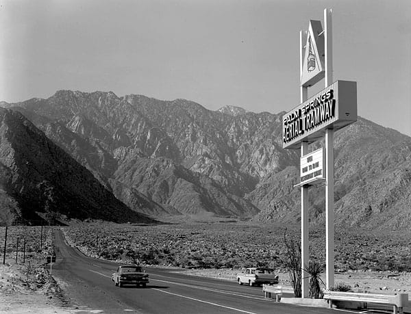 Tramway welcome sign on Highway 111 in north Palm Springs.