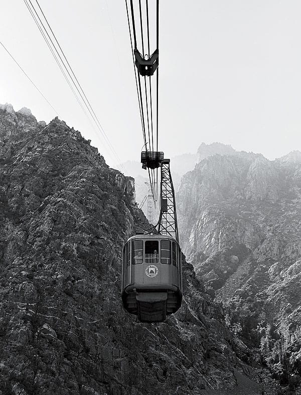 Passengers soar to the top of Mt. San Jacinto in one of the original tramcars.