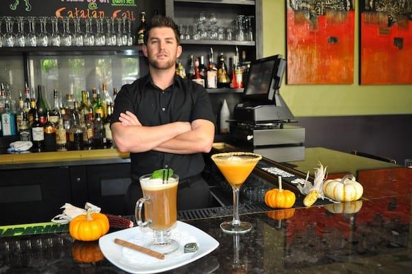Bartender Cory Como of Catalan Restaurant shows off his Pumpkin Pleasure and Spanish Night Cap Café.