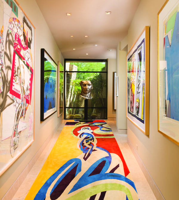 Works by (left) Frank Stella and Donald Sultan and (right) Roy Lichtenstein lead to the sculpture by Javier Marin.