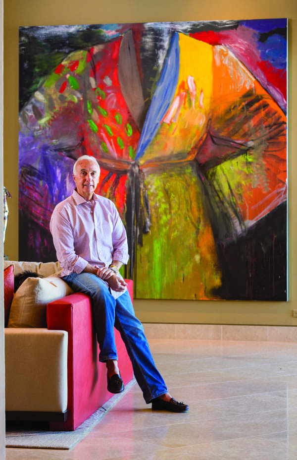 "Justin Baldwin installed a Jim Dine ""Robe"" painting in the living room."