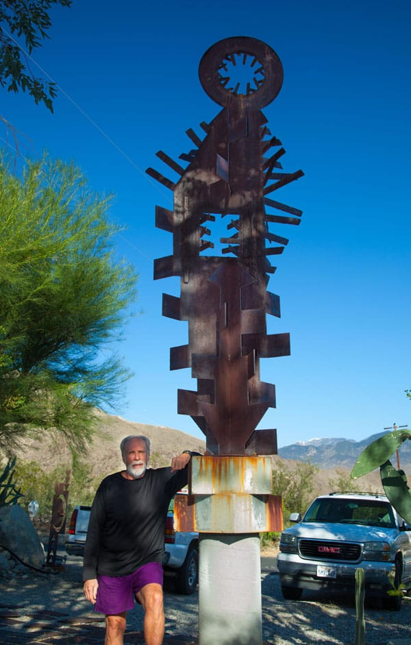 "Artist Robert Brooks Barron, known as ""Chops"", with one of his sculptures."