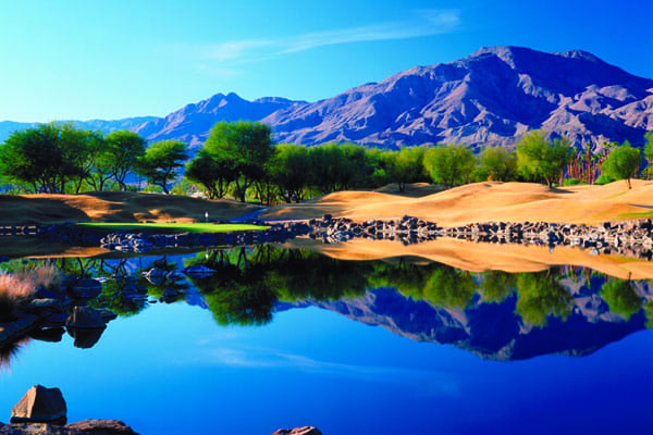 Hole No. 17 of the Pete Dye–designed TPC Stadium Course at PGA West in La Quinta.