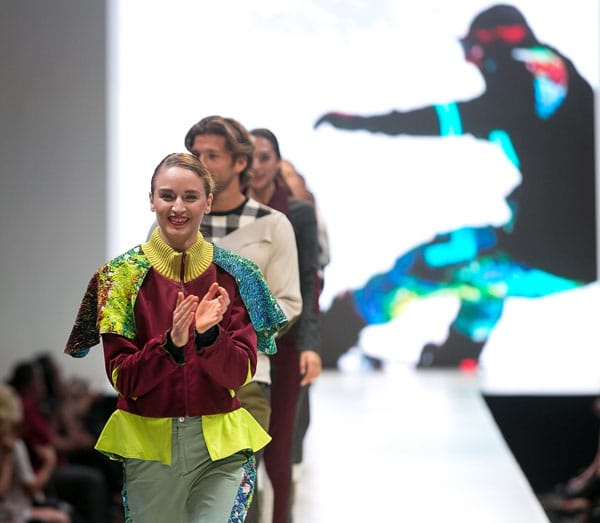 A resident of Riverside, Calif., Kelly Knaggs' first collection is comprised of winter action sports attire for both men and women. Appealing to snowboarding enthusiasts, she was inspired by electronic music and the casual, anti-trend sub culture that exists in Southern California.