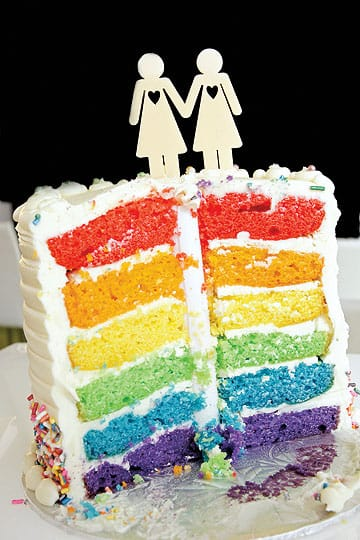 Hot tips for cool desert weddings - Over the Rainbow's same-sex clients have had a lot of fun surprising their guests at the cake-cutting. On the outside, the multilayered cake appears as any other wedding cake, but when cut into, each layer reveals a different color of the rainbow.