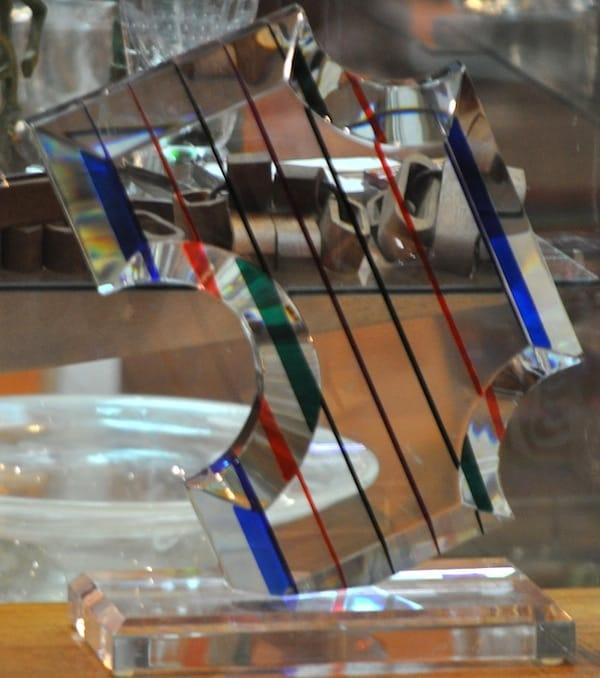 Unusual striped glass piece from Katz Modern, Inc. in Berkeley.