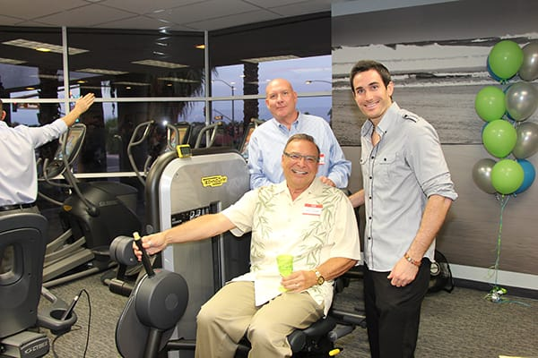 Desert Medical Fitness Academy clients Tom Williams (back) and Dennis Nickel with Personal Trainer Olivier Orengo.