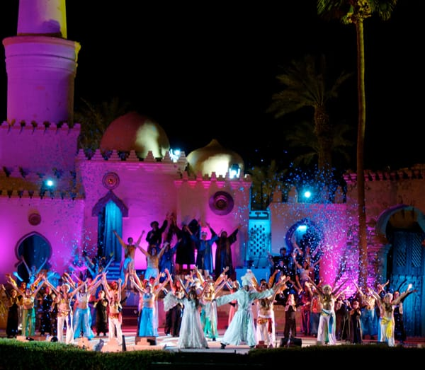 Check out the wonder of our Arabian themed Nightly Musical Pageant.