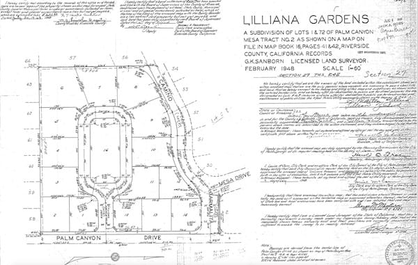 The master plan from 1948 shows Lilliana Gardens as a subdivision with an open municipal park at its center.