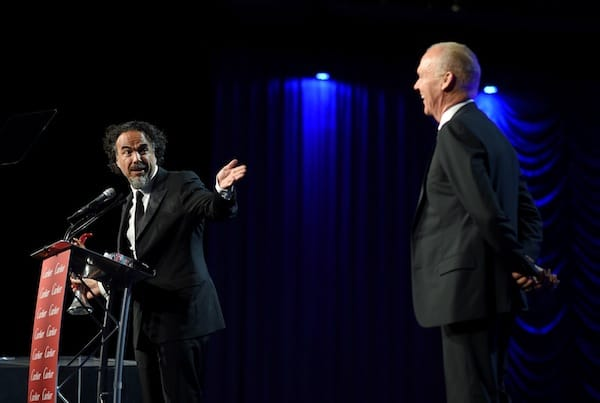 Alejandro González Iñárritu received the Director of the Year Award for 'Birdman' presented by the film's star, Michael Keaton.