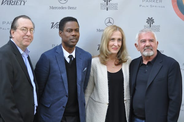 (From left) Variety executive editor Steven Gaydos, Chris Rock, Variety publisher Michelle Sobrino, and Darryl Macdonald, executive director of the Palm Springs International Film Festival.