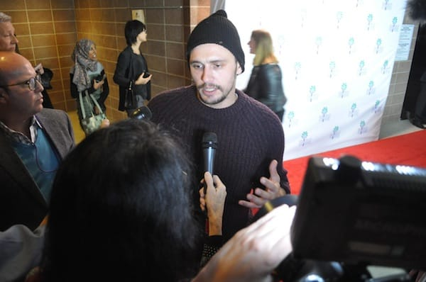 James Franco speaks to the media throng prior to the screening of his USC graduate students' film.