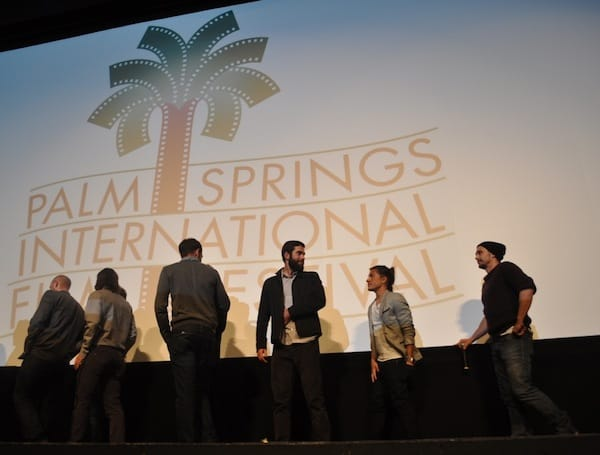 James Franco (far right) follows his USC graduate students off the stage after the Q&A session concludes.