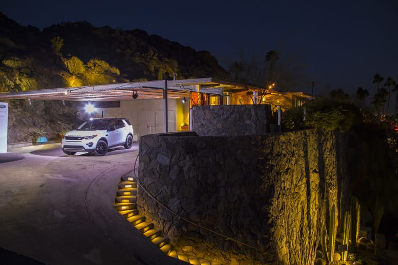 2015 Land Rover Sport parked at the entrance to the Hugh Kapture designed Siva House in Palm Springs