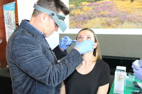 Dr. Timothy Jochen injects the new Restylane Silk in Jessica Neal, NP-C. This small molecule filler is great for filling in under the eyes.