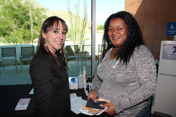 (From left) Adriana Ortiz, esthetician, and and Mujoshia Vincent.