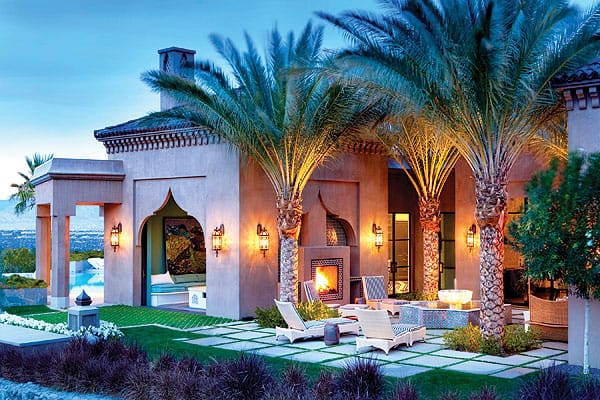 The home's exterior also features touches of Moroccan flair.
