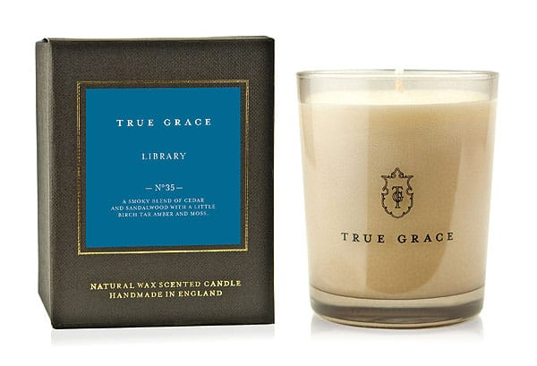 True Grace candles from Grace & Favor in Brooklyn. Made in England, they are so evocative! My favorite is the Library candle, a heady aroma of old leather and the peaty smell of single-malt scotch. Who else has candles like Vine Tomato or Wild Mint?
