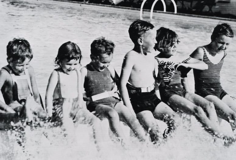 Vintage photo of children in municipal swimming pool Palm Springs