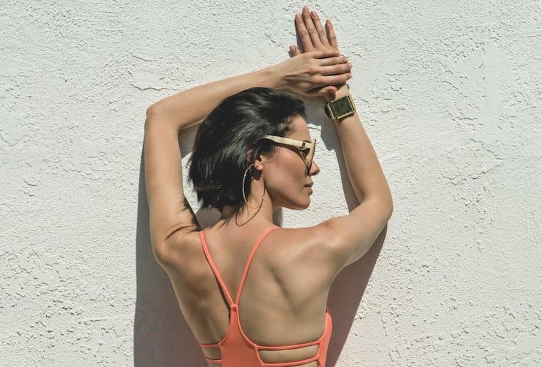 Model in bathing suit