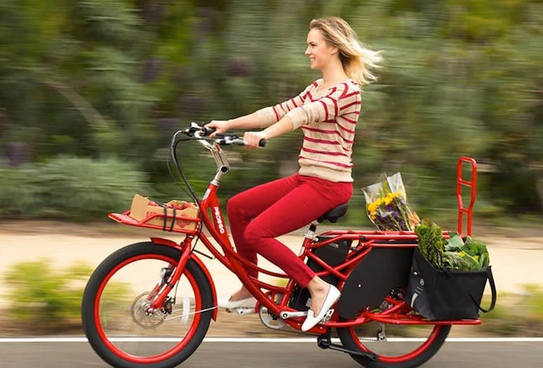 Rider on Pedego electric bike