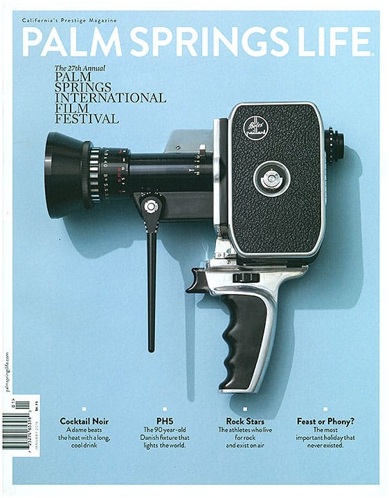 Pam Springs Life magazine cover January 2016 - vintage camera