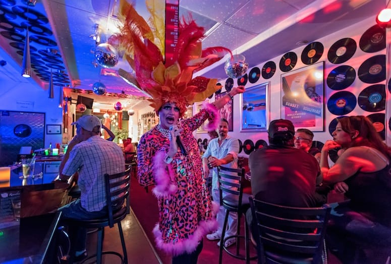 Drag Queen entertaining at Retro Room Lounge Palm Springs