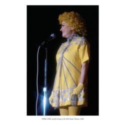 Phillis Diller performing at the Bob Hope Classic, 1981
