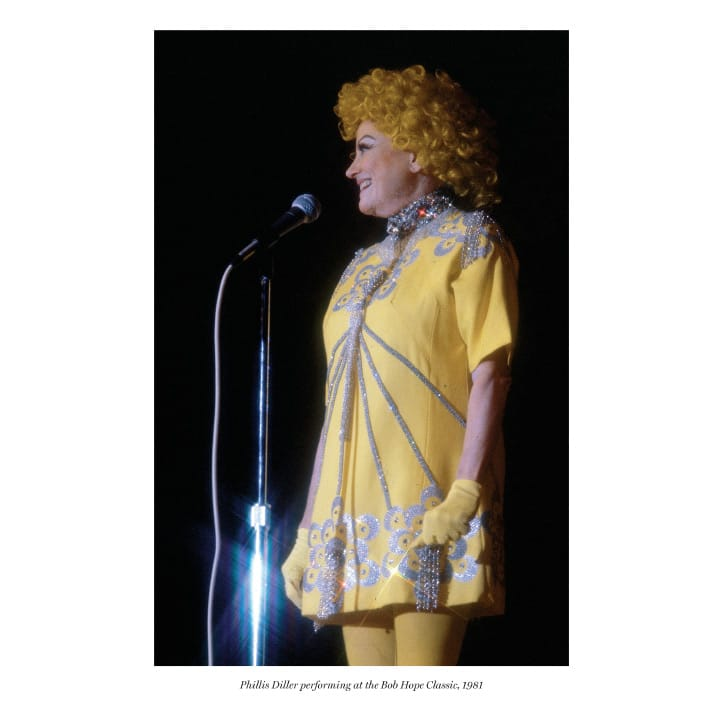 Phillis Diller performing at the Bob Hope Classic, 1981